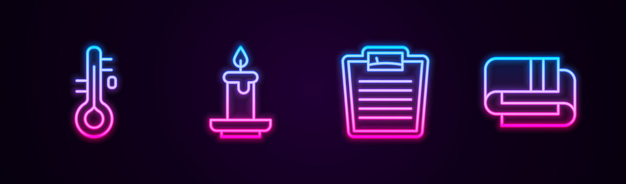 Set line Sauna thermometer, Aroma candle, Bathroom scales and Towel stack. Glowing neon icon. Vector.