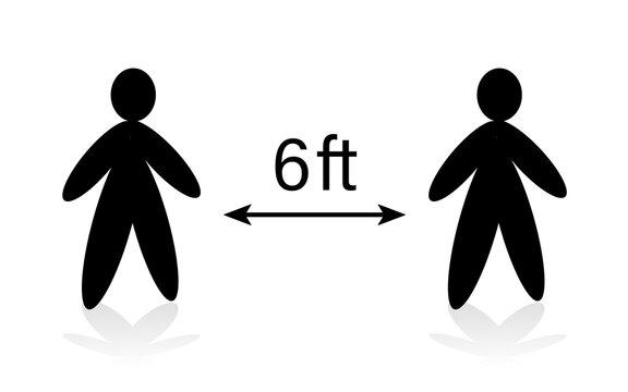 Distance between people of 6 feet