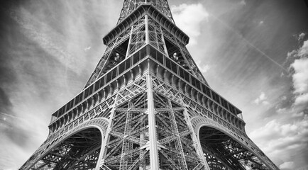 Eiffel Tower in Infrared with Dynamic Sky and Clouds
