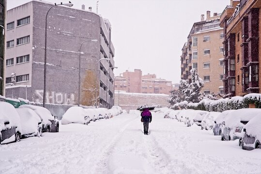 Snow covered street in Madrid, Spain