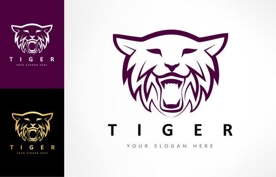 Tiger logo vector. Predatory wild animal design.