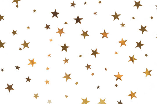 Star shaped golden confetti on white background, top view
