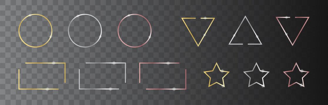 Shiny border frame collection. Vector illustration. Bright light frame set.