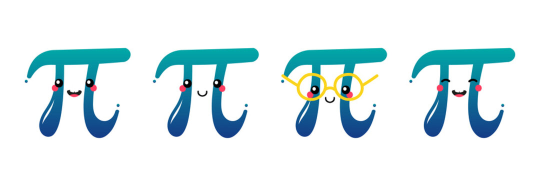 Set, collection of cute smiling cartoon style pi letter characters for World Pi Day.