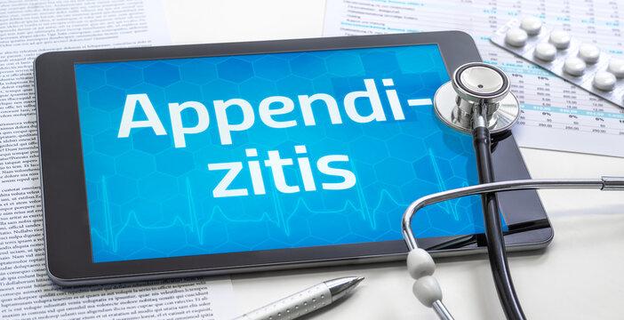 Ein Tablet mit dem Text Appendizitis auf dem Display