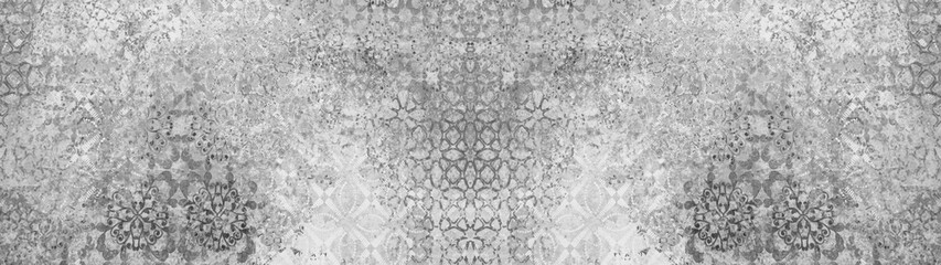 Old gray grey white vintage shabby patchwork motif tiles stone concrete cement wall texture background banner panorama Fototapete