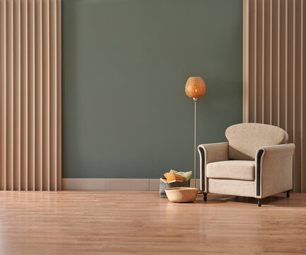 Decorative minimalist furniture design, middle table, green wall background, home decor interior style.