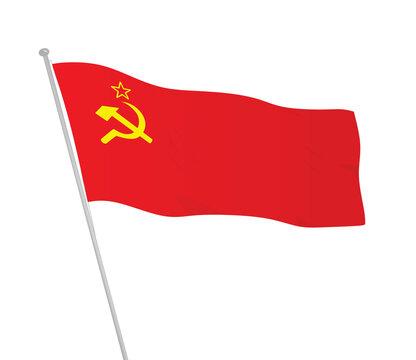 USSR,  Soviet union waving flag. vector illustration