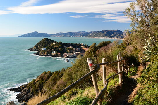 The hiking trail from Sestri Levante to Punta Manara. Liguria. Italy