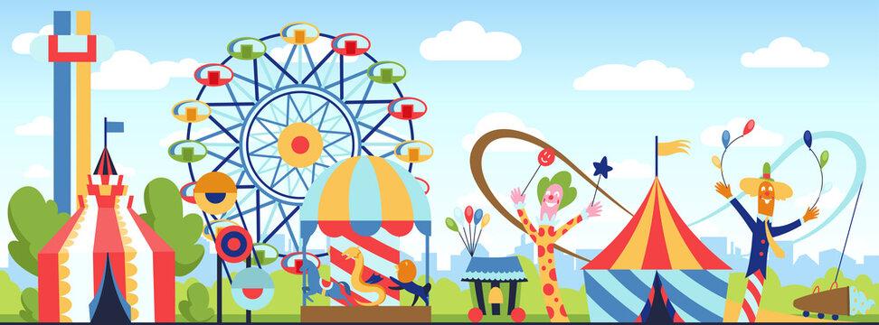 Amusement park. Fun park theme, kids carnival entertainments daytime, children amusing attractions cartoon illustration.