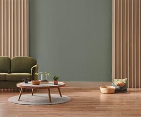 Fototapeta Green wall background, minimalist sofa, marble pattern wooden sofa, grey carpet, poster, lamp and frame. obraz