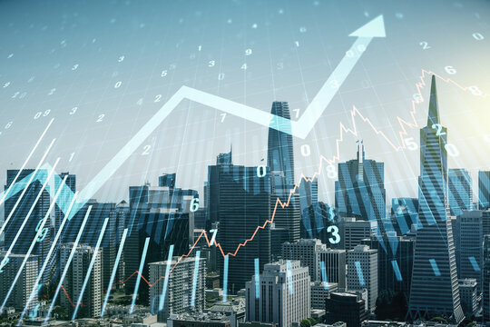 Abstract virtual financial graph and upward arrow hologram on San Francisco cityscape background, financial and trading concept. Multiexposure