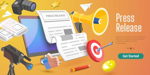 Fototapeta 3D Vector Conceptual Illustration of Internet Press Release, News Service, Digital Marketing Campaign. obraz