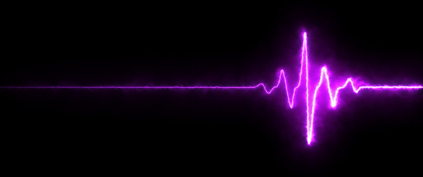 Colorful pink heartbeat rate and pulse on black screen, seamless and loop motion animate footage