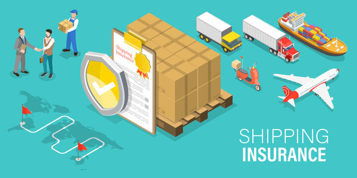 3D Isometric Flat Vector Conceptual Illustration of Shipping Insurance, Transportation Safety and Logistics.