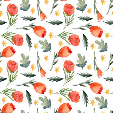 Watercolor floral botanical pattern and seamless background. Ideal for printing on fabric and paper or scrap booking. Hand-painted. Raster illustration.