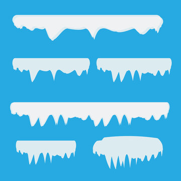 Snow and ice vector frames. Winter cartoon snow caps, snowdrifts and icicles. Illustration of snowcap for web design