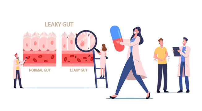 Leaky Gut Syndrome. Tiny Doctors Presenting Difference Healthy and Inflamed Intestinal Cells. Gastrointestinal Tract
