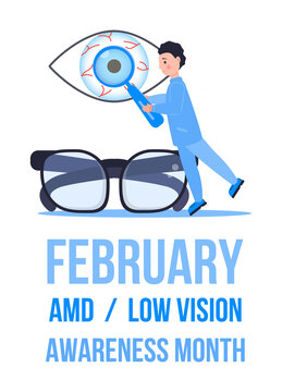 AMD, Low vision awareness month event is celebrated in February. Medical ophthalmologist eyesight check up concept vector. Eye doctor illustration for health care web banner