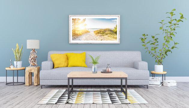 3d Illustration - Skandinavisches, nordisches Wohnzimmer mit einem Sofa, Tisch und einem Bild an der Wand - Textfreiraum - Platzhalter