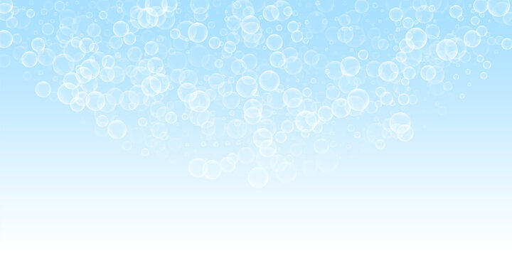 Random soap bubbles abstract background. Blowing b