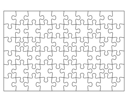 Blank Jigsaw Puzzle 60 pieces. Simple line art style for printing and web. Stock vector illustration