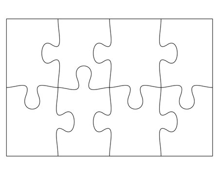Blank Jigsaw Puzzle 8 pieces. Simple line art style for printing and web. Stock vector illustration