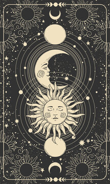 Mystical drawing of sun with face, moon and crescent moon, background for tarot card, magic boho illustration. Golden sun with closed eyes on a black background with stars. Vector
