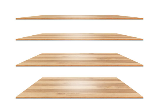 collection of brown wooden shelves on a white background that separates the objects. There are Clipping Paths for the designs and decoration