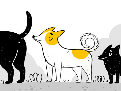 A funny dog walks on the street and sniffs other dogs. Puppies sniff each other. Normal pet behavior