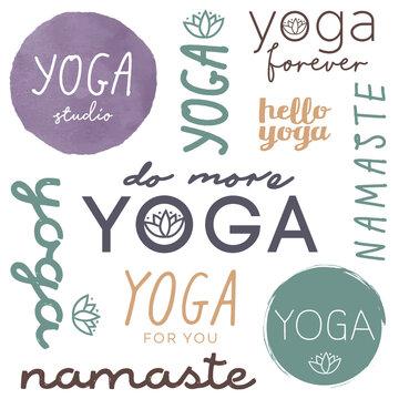Yoga Studio Logo Namaste Vector Illustrator color adjustable