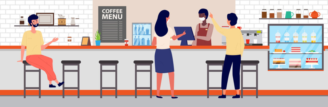 People are ordering food and drink in office canteen. Coffee making equipment. Man is serving visitors. Girl is making an order at checkout. Various types of drinks on the counter of the dining room