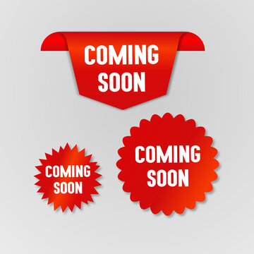 Red coming soon sticker on white background