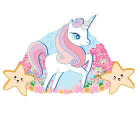 Beautiful unicorn, ornamental floral icon