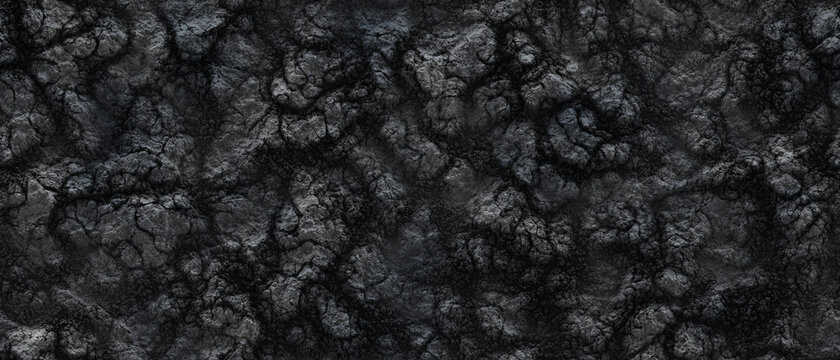 Grunge grey cracked extinct volcanic ash ground 3D illustration, seamless background