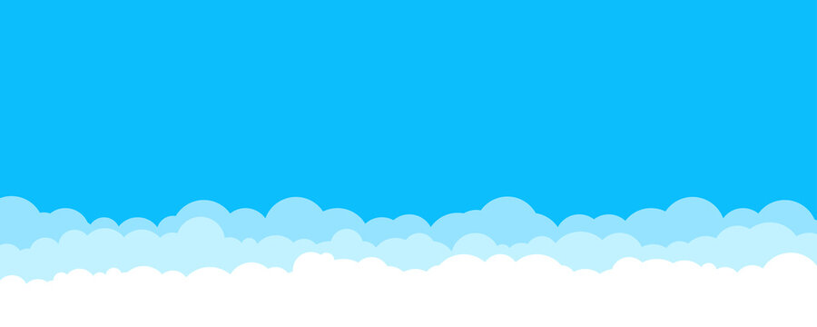 Blue sky with white clouds layers. Sky with clouds background banner template. Stock vector