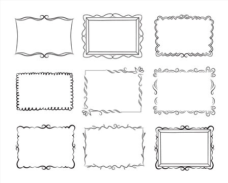 Hand drawn vintage doodle floral frames set. Cartoon style. Vector.