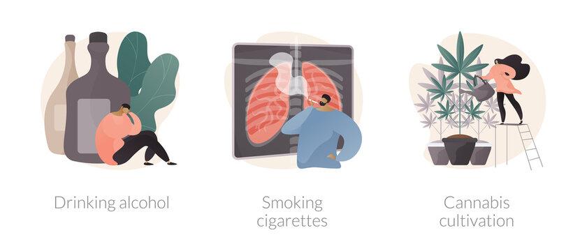 Unhealthy habits abstract concept vector illustration set. Drinking alcohol, smoking cigarettes, cannabis cultivation, addiction rehabilitation, health risk, medical marijuana abstract metaphor.