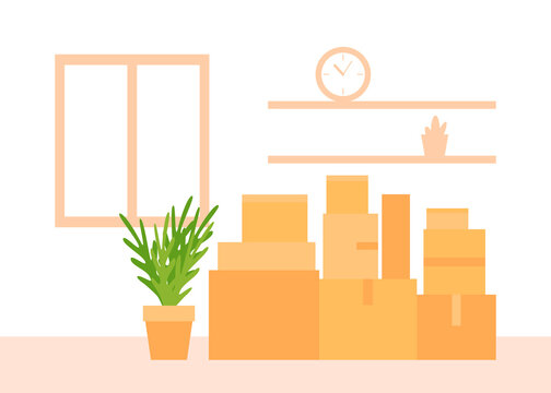 Paper cardboard boxes with household thing indoor for moving to new house. Relocated to new home. Move, delivery packages for transportation. Vector illustration