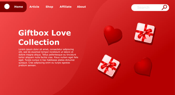 giftbox love landing page vector relevant for Valentine's day get additional image can be edit layer by layer