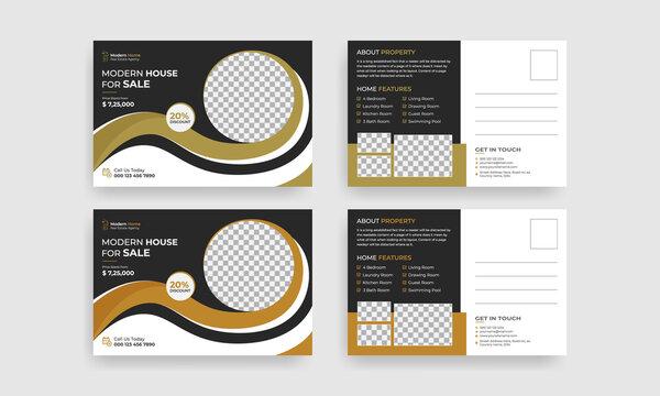 Real estate postcard vector template design