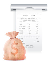 Wall Mural - Payment check paper document poked out of the cash register near a bag with dollar sign with shadow isolated on black background. Reciept, purchase payment, much money, buying and selling concept