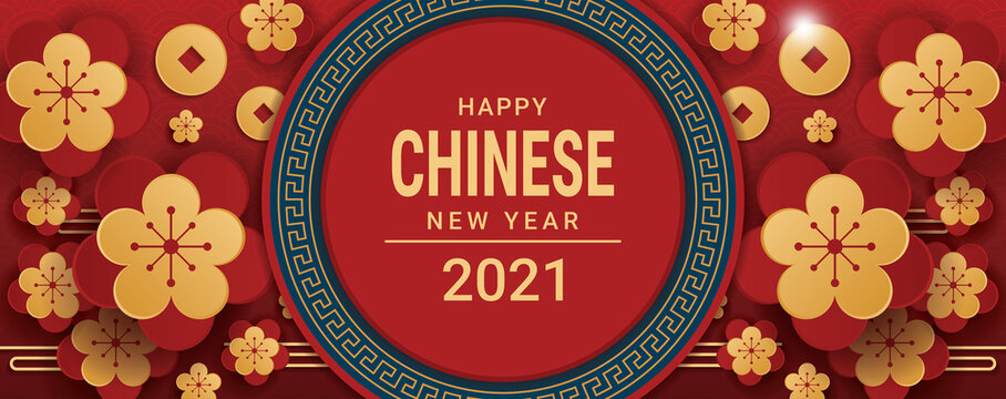 happy chinese new year 2021 banner design . vector illustration