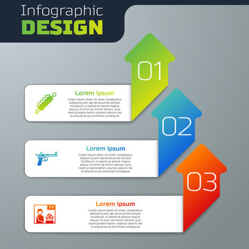 Set Trap hunting, Desert eagle gun and Advertising weapon. Business infographic template. Vector.