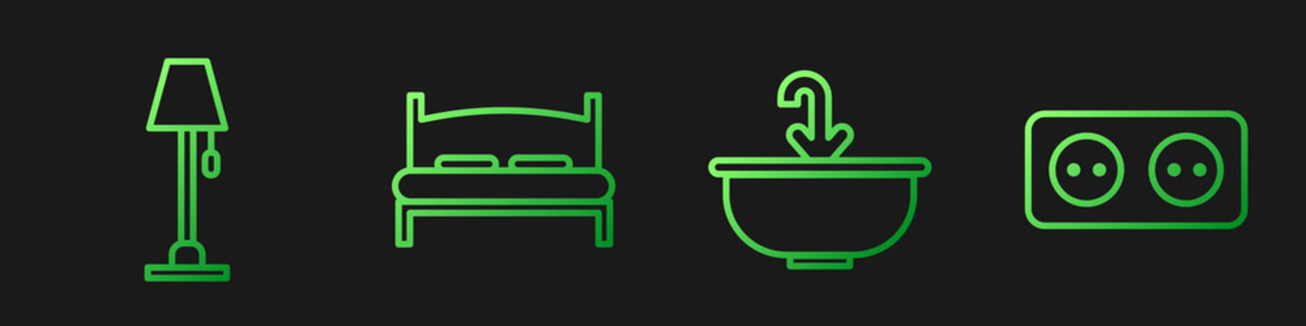 Set line Washbasin with water tap, Floor lamp, Big bed and Electrical outlet. Gradient color icons. Vector.