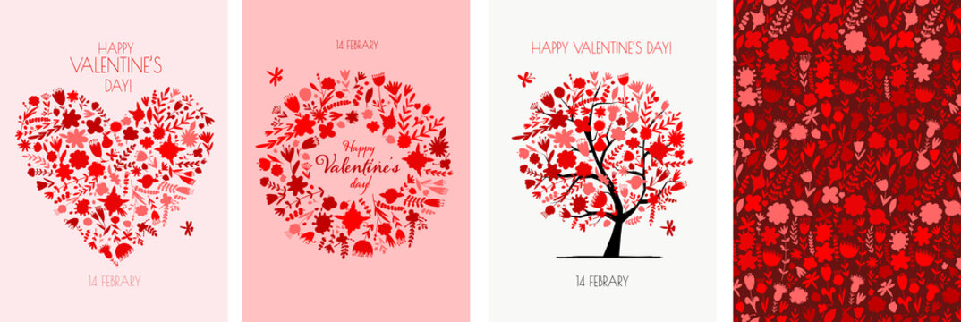Valentine's day card design. Love Tree, Art Frame, Heart shape. Wedding set. Wallpaper, flyers, invitation, posters, brochure, voucher,banners.