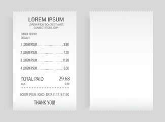 Wall Mural - Payment check paper document. Buying financial invoice bill purchasing calculate pay vector isolated. Receipt the seller forms at the online checkout for transfer to the buyer or client, paper piece