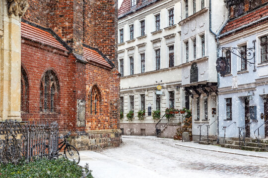 Old historical destination of Nicolas quarter in winter, Berlin, Germany
