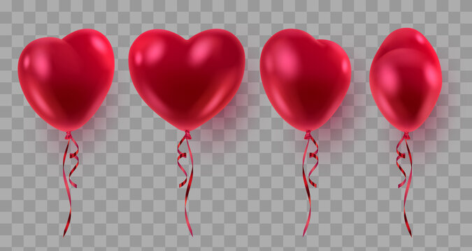Set of three red realistic heart ballons, from different sides and red ribbons. Vector illustration for card, party, design, flyer, poster, decor, banner, web, advertising.
