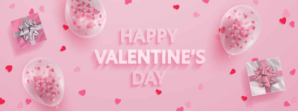 Banner for Happy Valentine's Day  with pink, silver gifts, transparent ballons, hearts confetti and 3d text on pink background. Vector Holiday illustration for decor, design, arts, advertising.